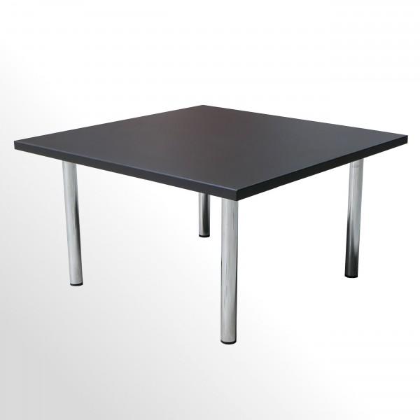 Beistelltisch - Loungetisch - 4-Fuß-Chromgestell - Softschwarz - 600x600 mm