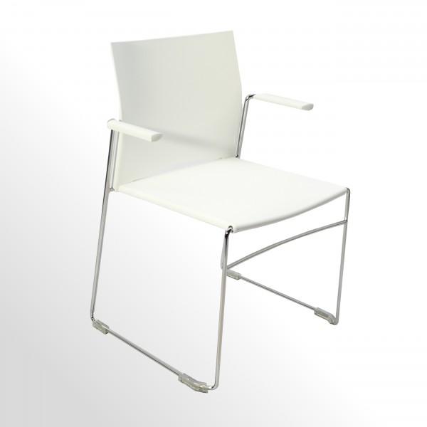 Günstiger Besucherstuhl - Praxisstuhl - Wartezimmerstuhl mit Armlehnen - Kunststoff weiß