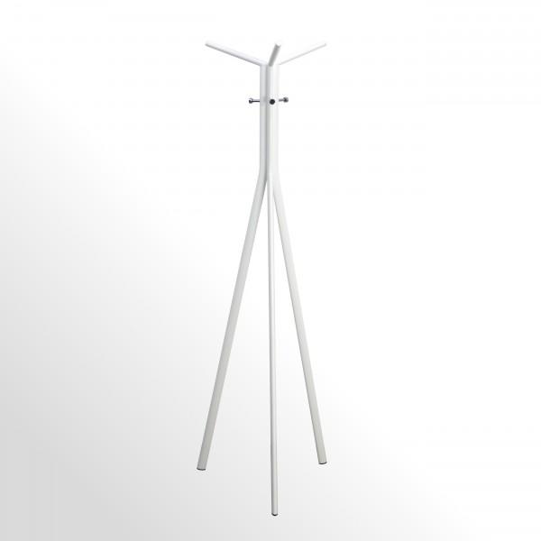 Moderner Design-Garderobenständer - Weiß / Chrom