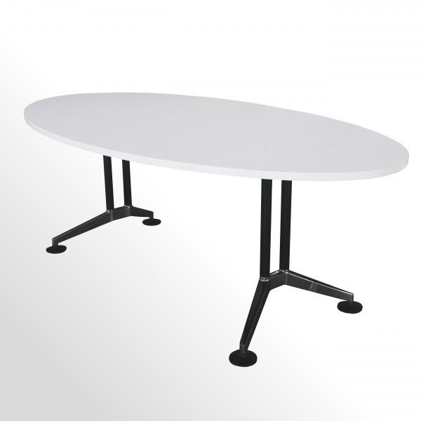 Gebrauchter Besprechungstisch Ellipse-Form - weiß