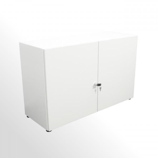 Gebrauchter Aktenschrank - 2 Ordnerhöhen - grau-weiß