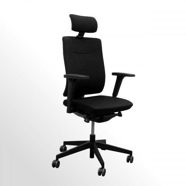Günstiger Bürodrehstuhl mit Armlehnen und Kopfstütze - Stoff schwarz