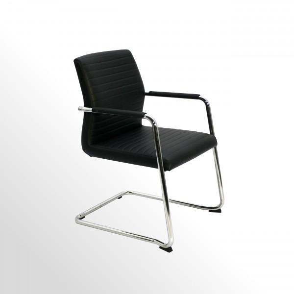 Premium Besucher- und Konferenzstuhl - Kunstleder schwarz mit Innensteppung