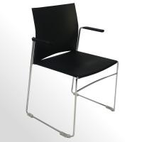 Günstiger Besucherstuhl - Praxisstuhl - Kunststoff schwarz