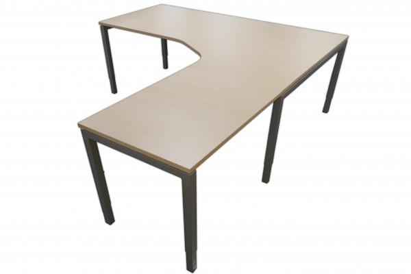 Günstige Schreibtisch-Winkelkombination - Eckschreibtisch - Ahorn Dekor - Anbautisch rechts