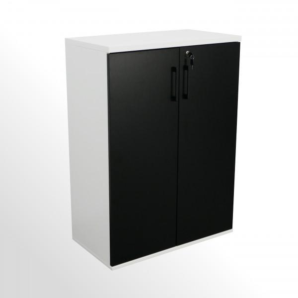 Flügeltürenschrank - Aktenschrank - 3 Ordnerhöhen - B 800 mm - weiß-schwarz