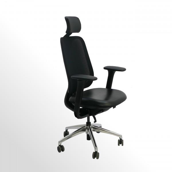 Gebrauchter, ergonomischer Bürodrehstuhl mit Netzrücken und Kopfstütze - Leder Sitzpolster