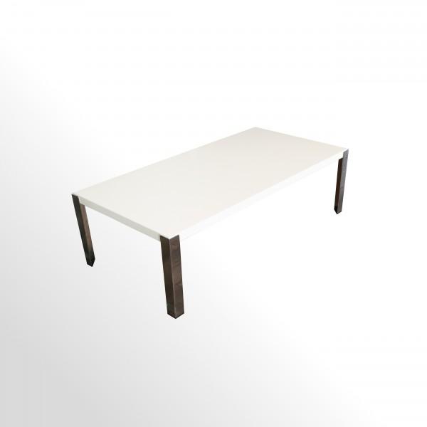 Günstiger Design Loungetisch - Beistelltisch - weiß-chrom - 1200x600 mm
