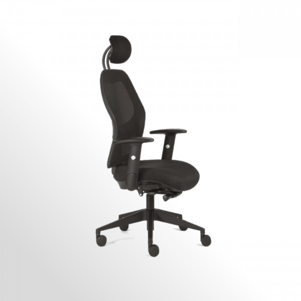 Bürodrehstuhl mit Kopfstütze und Netzrücken