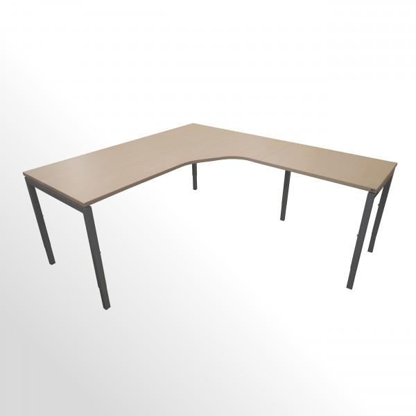 Günstige Schreibtisch-Winkelkombination - Eckschreibtisch - Ahorn Dekor - Anbautisch links