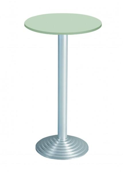 Bisley Stehtisch, rund, 1 Platte, Tischplatte 38 mm, Dekor: Grau|Gestell: Aluminium; Ø 600 mm