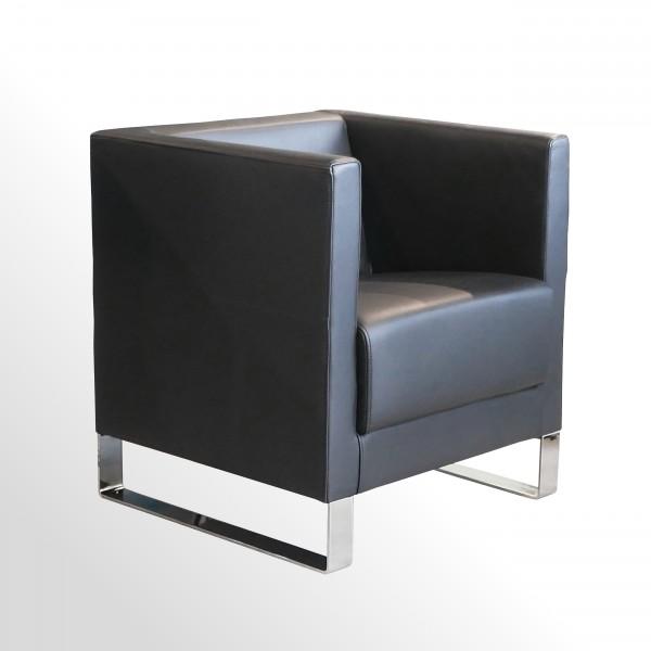 Günstiger Design-Loungesessel - Premium Leder schwarz