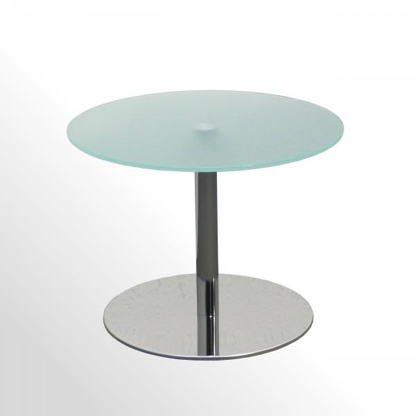 Günstiger Design-Beistelltisch - Glastisch mit verchromtem Tellerfuß - Ø 600 mm