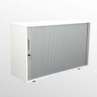Rollladenschrank - Aktenschrank - Beistellschrank - 2 Ordnerhöhen - weiß/silber