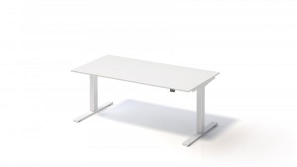 Bisley Varia Schreibtisch, 650-1250 mm elektr. höhenverstellbar, 1600 x T 800, weiß
