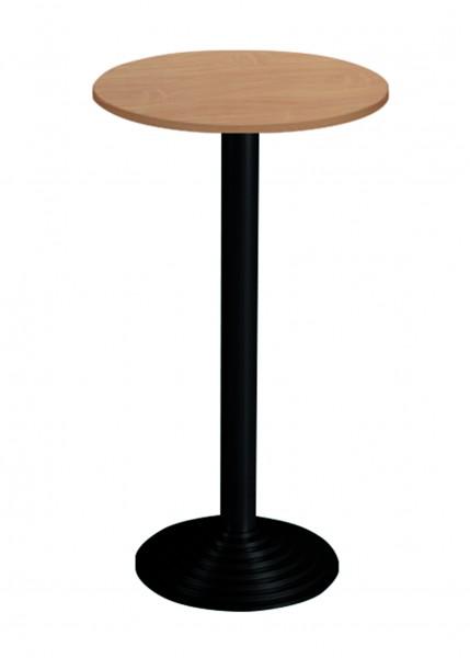Bisley Stehtisch, rund, 1 Platte, Tischplatte 38 mm, Dekor: Buche|Gestell: Schwarz; Ø 600 mm
