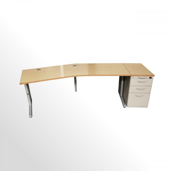 Gebrauchtes Werndl Schreibtisch - Standcontainer - Set - Ahorn Dekor