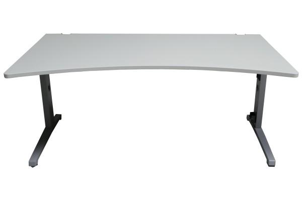 Gebrauchter Steelcase Schreibtisch mit Cockpitplatte - Lichtgrau/Mittelgrau