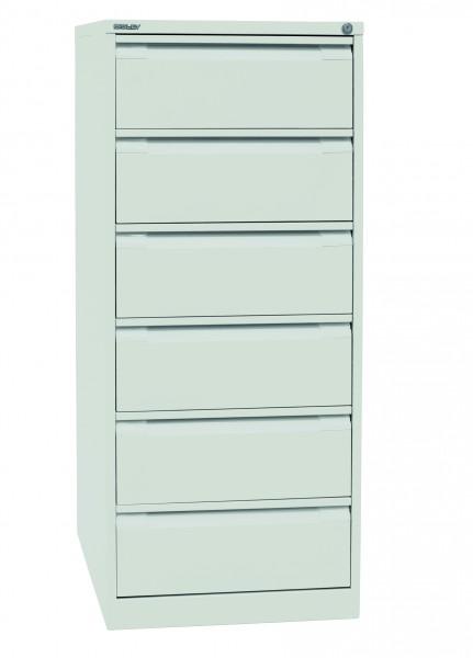Bisley Karteischrank, doppelbahnig DIN A5, 6 Schubladen, Farbe reinweiß