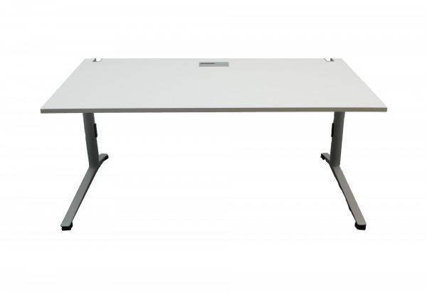 Gebrauchter Steelcase Schreibtisch - Weiß/grau - Gestell - C-Fuß: Aluminiumfarben
