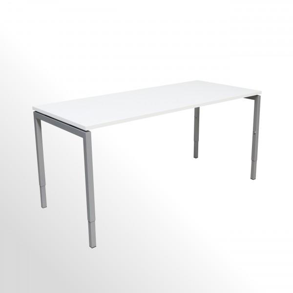 Gebrauchter Arbeitstisch - Schreibtisch   B 1600 x T 800 mm   Weiß   4-Fuß-Gestell