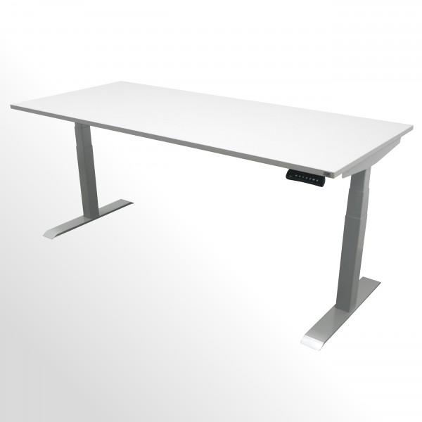 Elektrisch höhenverstellbarer Schreibtisch mit 2 Motoren - Rechteckplatte - belastbar bis 120kg!