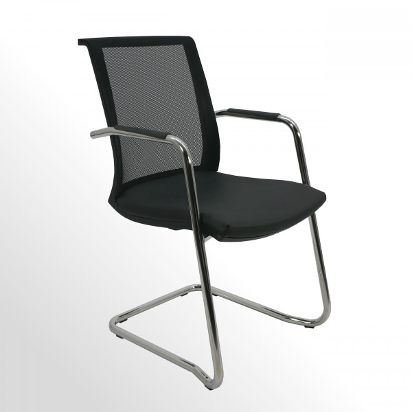 Besucher- und Konferenzstuhl - Freischwinger - Rückenlehne Netz schwarz   Sitzpolster: Leder schwarz