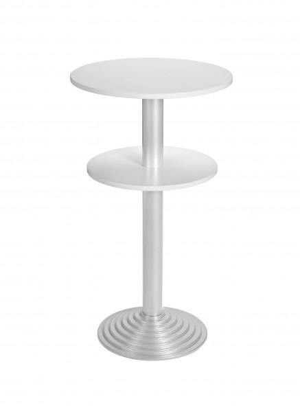Bisley Stehtisch, rund, 2 Platten, Tischplatte 38 mm, Dekor: Grau|Gestell: Aluminium; Ø 600 mm