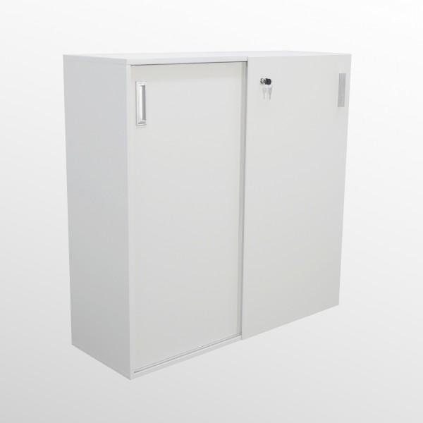 Schiebetürenschrank - Aktenschrank - 3 Ordnerhöhen - weiß