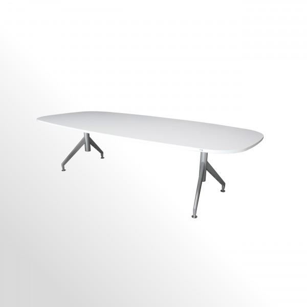 Besprechungstisch- und Konferenztisch - 2750x1200 mm - weiß/aluminium
