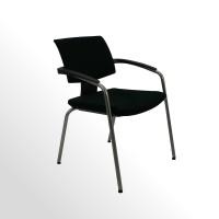 Besucher- und Konferenzstuhl - Stoff schwarz - 4-Fuß-Gestell - stapelbar