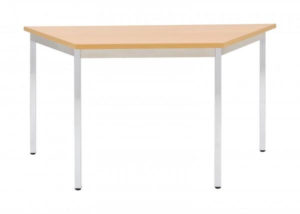 Bisley Mehrzwecktisch, Trapez, Gestell verchromt, Tischplatte 25 mm, buche; 1400x700