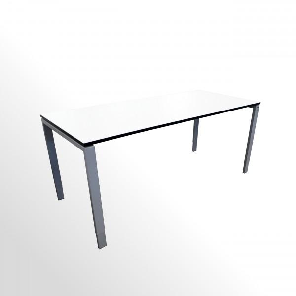 Günstiger Schreibtisch mit neuer Arbeitsplatte - weiß m. schwarzer Kante