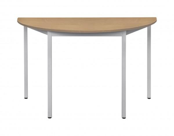Bisley Mehrzwecktisch, halbrund, Gestell verchromt, Tischplatte 25 mm, buche; 1200x600