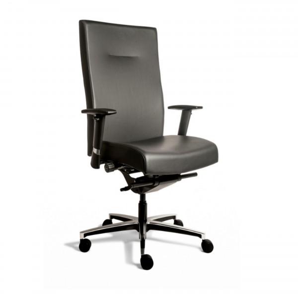 Günstiger Chefsessel - Bürodrehstuhl - XL-Drehstuhl - bis 160kg belastbar! - Leder schwarz