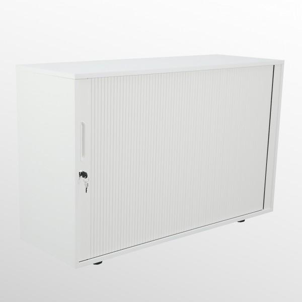 Rollladenschrank - Aktenschrank - Beistellschrank - 2 Ordnerhöhen - weiß