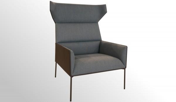 Premium Loungesessel - Ohrensessel - Stoff blau-grau - Premium-Leder braun