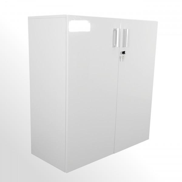 Hochwertiger Flügeltürenschrank - Aktenschrank - 3 Ordnerhöhen - hochglanz weiß
