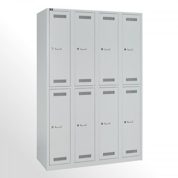 Bisley Garderobenschrank LIGHT, 4 Abteile 300 à 2 Fächer, Farbe lichtgrau