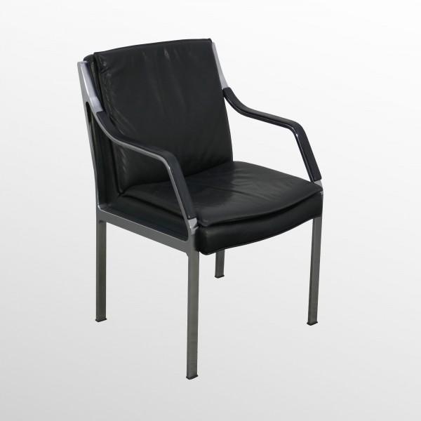 Gebrauchter Design-Besuchersessel - Besucherstuhl - Leder schwarz