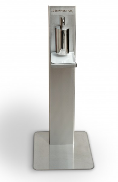 Edelstahl Hygiene-Station mit Desinfektionsmittelspender. - auf Wunsch mit eigenem Firmenlogo!