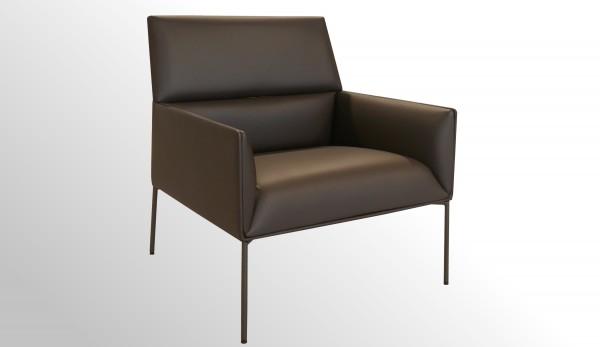 Günstiger Design-Loungesessel - Premium Leder braun