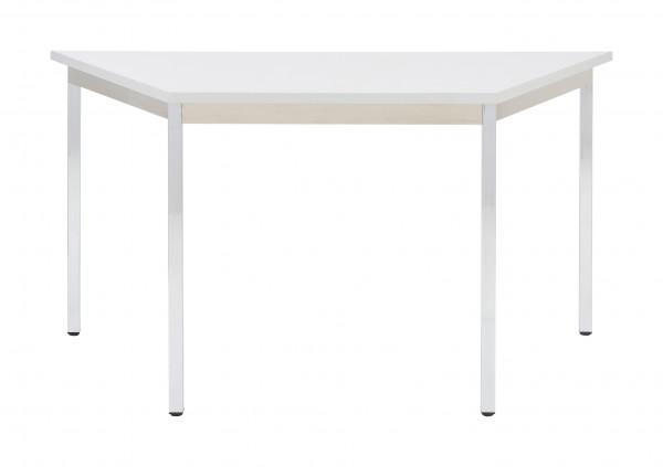Bisley Mehrzwecktisch, Trapez, Gestell verchromt, Tischplatte 25 mm, grau; 1400x700