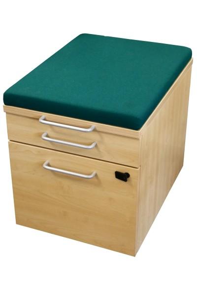 Gebrauchter Steelcase Rollcontainer mit Sitzpolster - Stoff dunkelgrün