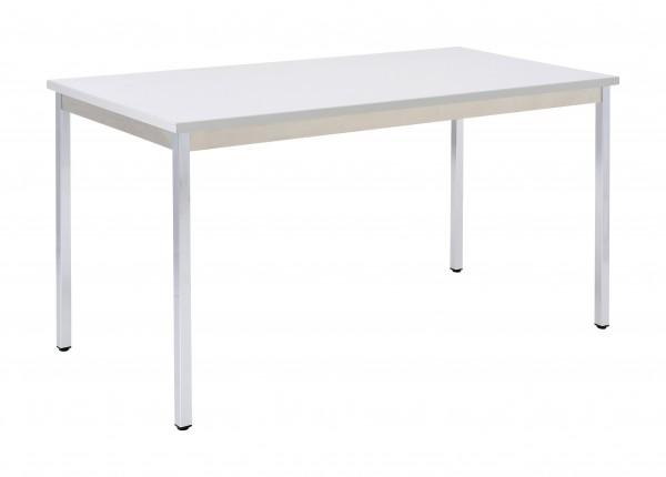 Bisley Mehrzwecktisch, rechteckig, Gestell verchromt, Tischplatte 25 mm, grau; 1400x700