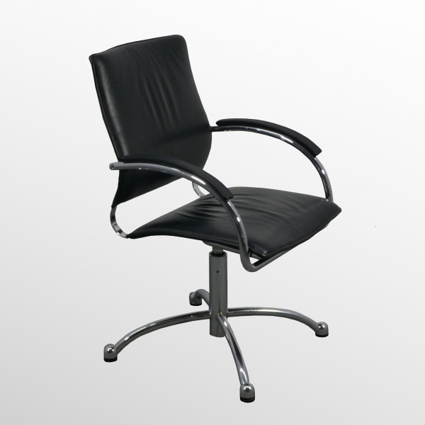 Gebrauchter Thonet Besucherstuhl - Konferenzstuhl - Leder schwarz - drehbar