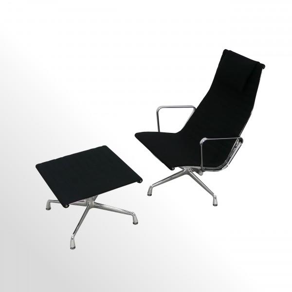 Vitra Loungesessel - Aluminium Chair EA124 incl. Hocker/Fußbank EA125 - Hopsack Nero - Setpreis!