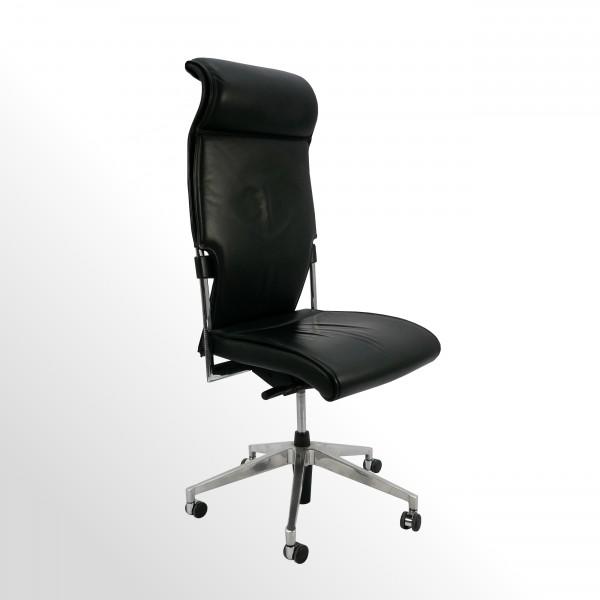 Gebrauchter Brunner Chefsessel - Bürodrehstuhl ohne Armlehnen - Leder schwarz