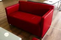 Günstiges, gebrauchtes COR Couch- und Sesselset - Leder rot