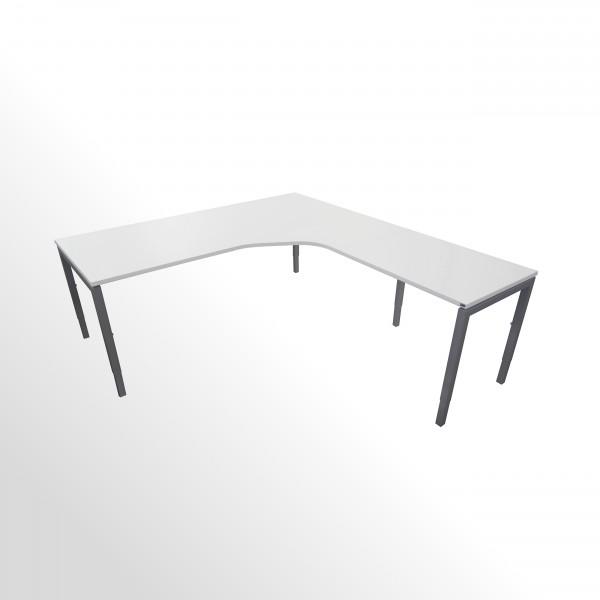 Günstige Schreibtisch-Winkelkombination - Eckschreibtisch - Weiß - Anbautisch rechts